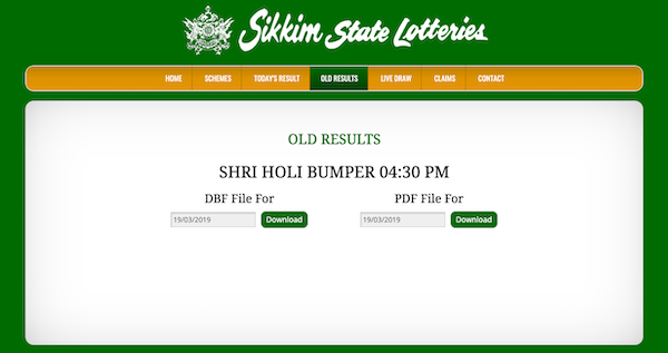 sikkim state lottery homepage